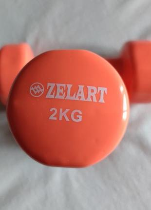 Набор гантелей для фитнеса с виниловым покрытием zelart beauty 2×2кг.