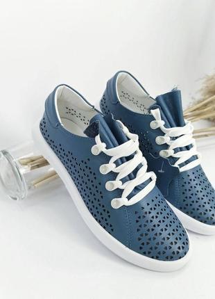 Рр 36-41.женские синие голубые кеды мокасины кроссовки из натуральной кожи сквозная перфорация