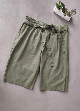 Льняные шорты хаки зелёные с поясом на резинке bpc bonprix collection