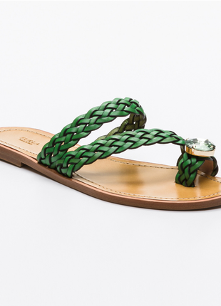 Новые сандалии furla босоножки шлёпанцы фурла кожа стразы swarovski made in italy
