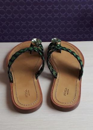 Новые сандалии furla босоножки шлёпанцы фурла кожа стразы swarovski made in italy3 фото