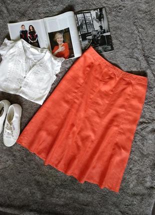 Стильная однотонная юбка изо льна, на резинке ниже колен, миди, коралловая