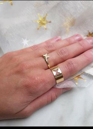 Парные кольца бабочки, колечки в золоте, каблучки з метеликами, тренд кольца