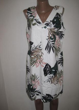 Льняное платье peacocks р-р12 принт листья