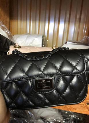 Женская кожаная сумка в стиле сhаnеl стеганая клатч кроссбоди