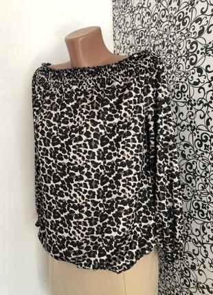 💫женская леопардовая кофта / блузка by very с приспущенными плечами