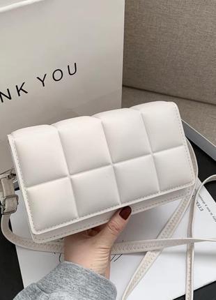 Клатч сумочка багет прямоугольный белый коричневый