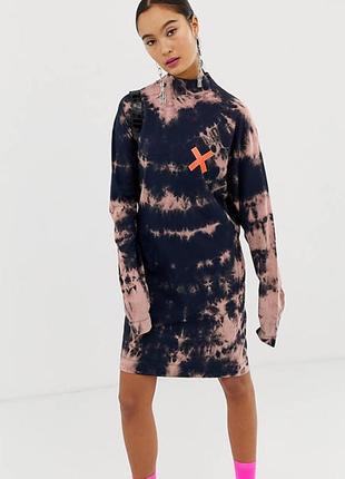 Платье с длинным рукавом варёнка тай-дай