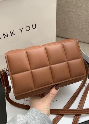 Клатч сумочка прямоугольный белый коричневый