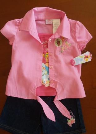 Яркий фирменный комплект-тройка disney princess(сша) на 3-4 года