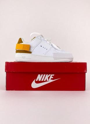 Стильные женские легкие кроссовки nike air force type 1 white orange белые найк форс