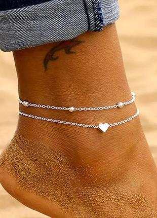 Двойной браслет на ножку анклет сердечко браслет на ногу сердце