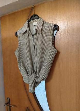 Рубашка, блузка, жилетка, платье ,лен, сарафан, платье рубашка, безрукавка, рубашка в клетку