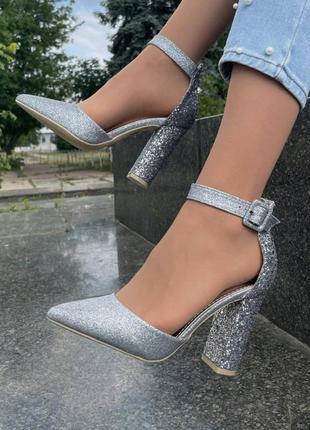 Туфли женские на каблуке серебро босоножки