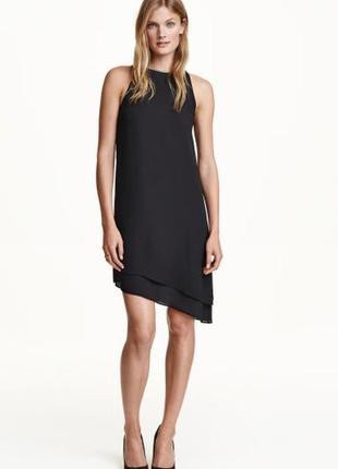 Шифоновое платье с открытыми плечами и асимметричным подолом h&m
