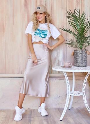 Шелковая юбка-колокол в бельевом стиле коричневый, беж, бордо, чёрный, т.беж