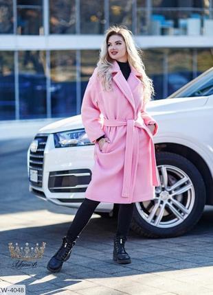 Пальто кашемировое женское розовое. модель 2021