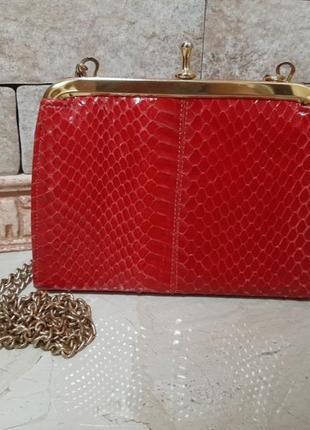 Винтажная сумочка клатч из кожи змеи