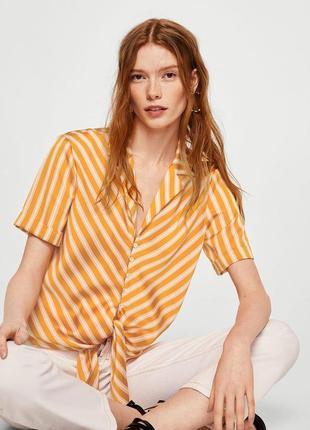 Блуза рубашка mango в полоску в жовту смужку