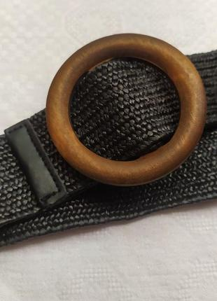 Эластичный черный ремень круглая деревянная пряжка пояс резинка