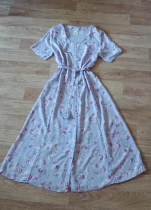 Платье миди в цветочный принт на пуговицах с поясом, сукня міді віскоза