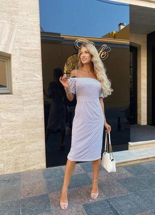 Женское платье, платье миди, платье в горошек, нарядное платье