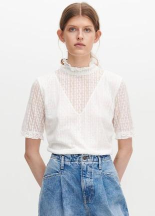 Ажурная блузка с коротким рукавом reserved