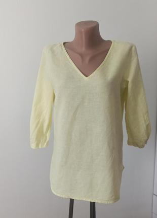 Льнана сорочка блуза хб під льон туника летняя кофта лен льон желтая s - м блузка лимонний сорочка рубашка
