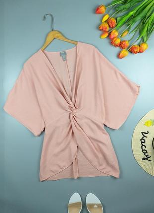 Блуза нежно розовая с узелком  12р.