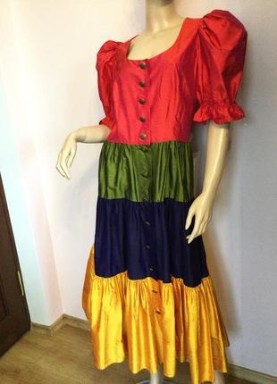 Шикарное шелковое модняцкое платье с рукавом буф/m/ brend sportalm