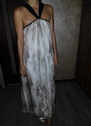 😍 шифоновое струящиеся платье-сарафан на чёрных лямках m&s limited collection