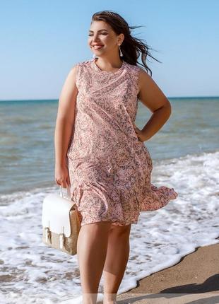 Летнее платье-сарафан в цветочный принт размеры 50-52,54-56,58-60,62-64 (1039)