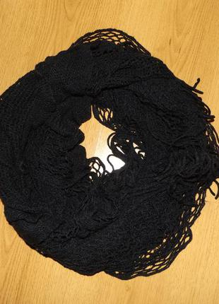 Стильный вязаный шарф платок черного цвета