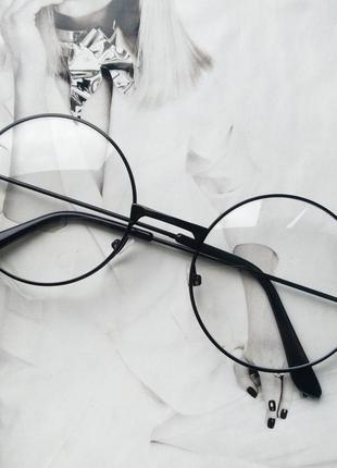 Круглые ретро имиджевые очки тишейды чёрный