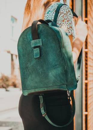 Шкіряний жіночий рюкзак, handmade, рюкзачок, женский рюкзак, вінтажна шкіра, колір зелений