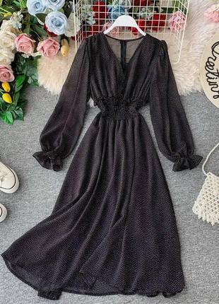 Воздушное платье миди в горошек шифоновое женское