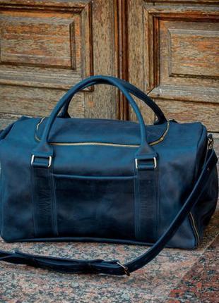 Кожаная спортивная сумка с отделением  для обуви, дорожная кожаная сумка
