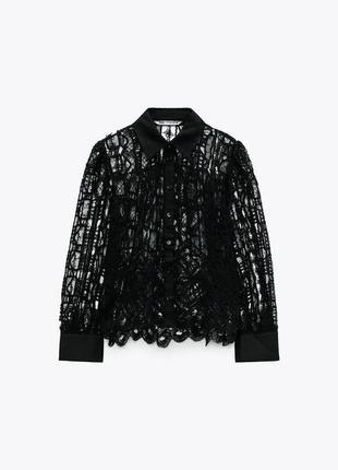 Рубашка/блуза из смесового льна с кружевом кроше zara