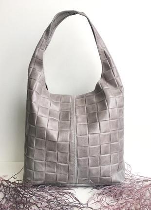Натуральная кожаная сумка женская шоппер бежевый genuine leather италия с ручкой на плечо на молнии серый пудровый vera pelle