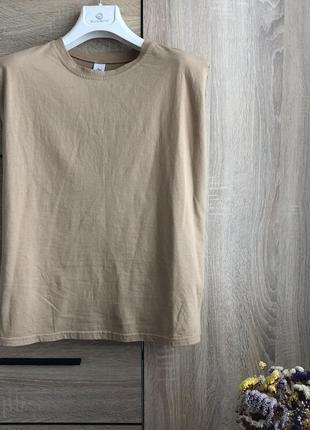 Майка футболка с плечиками беж базовая s/м