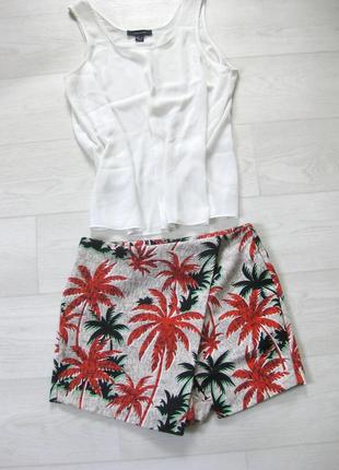 Шорты юбка на запах topshop серый разноцветный гавайский принт рисунок красные пальмы