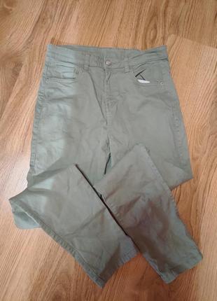 Оливковые брюки с высокой талией ostin