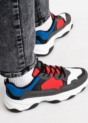 Мужские кроссовки fashion sport серо-красные. 39-44