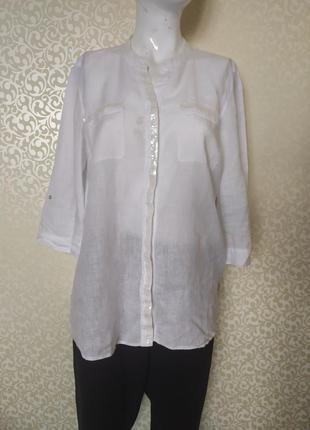 Белая льняная блуза, рубашка с паетками