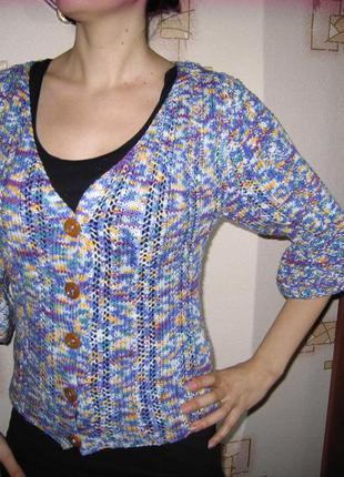 Шерстяной кардиган ручной вязки, 50%шерсти, теплый и фактурный, кофта, свитер