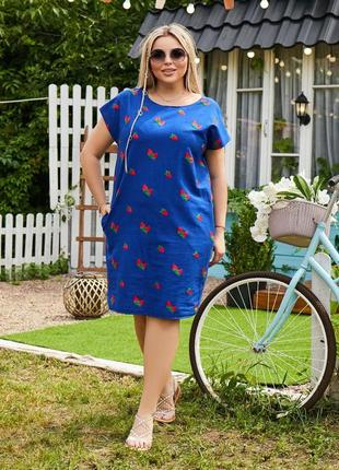 Платье летнее батал женское легкое свободное до колена нарядное