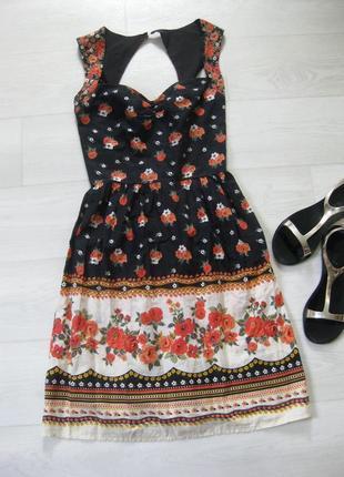 Платье asos чёрное разноцветное цветочный принт коттон