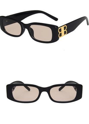 Тренд черные узкие очки солнцезащитные ретро новые окуляри чорні коричневі сонцезахисні