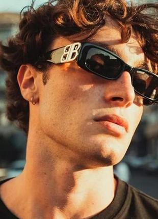 Тренд черные узкие очки солнцезащитные ретро новые окуляри чорні коричневі сонцезахисні2 фото