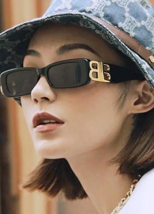Тренд черные узкие очки солнцезащитные ретро новые окуляри чорні коричневі сонцезахисні3 фото